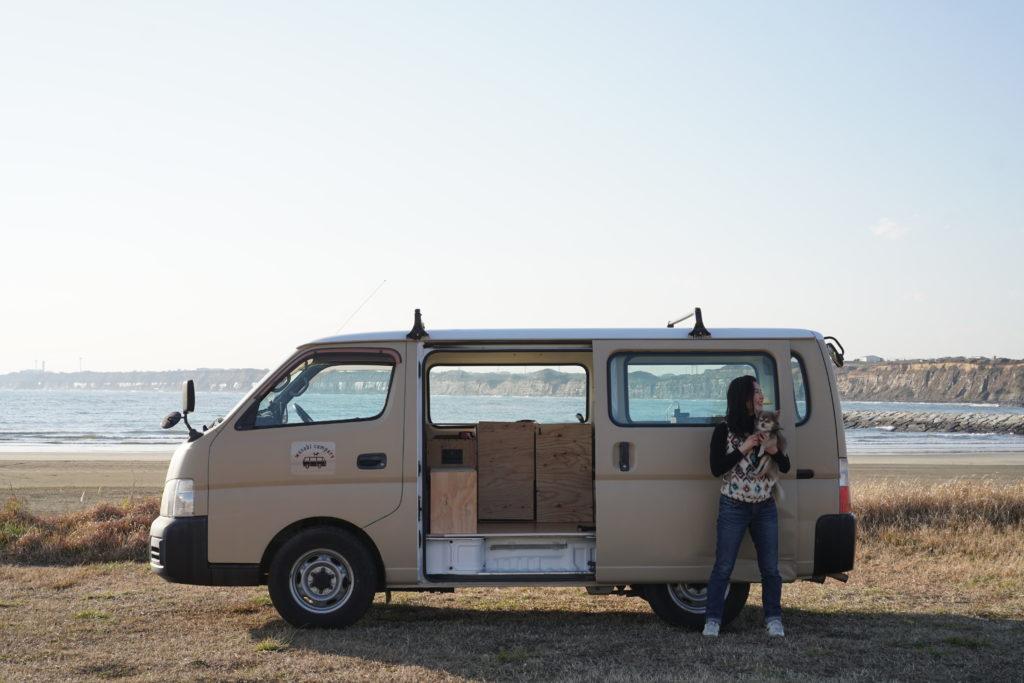 camper van with door open